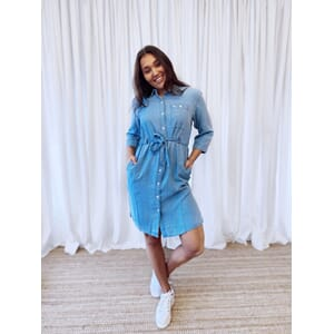 Long denim dress faded blue
