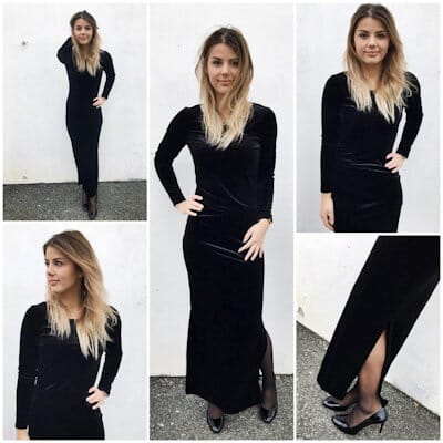 R6511 Velour kjole Black Studio Mote